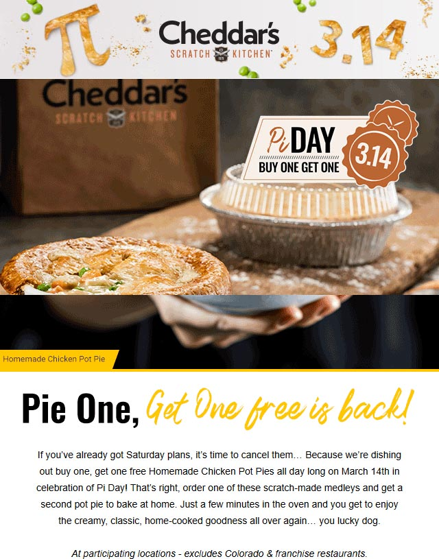 Cheddars coupons & promo code for [July 2020]