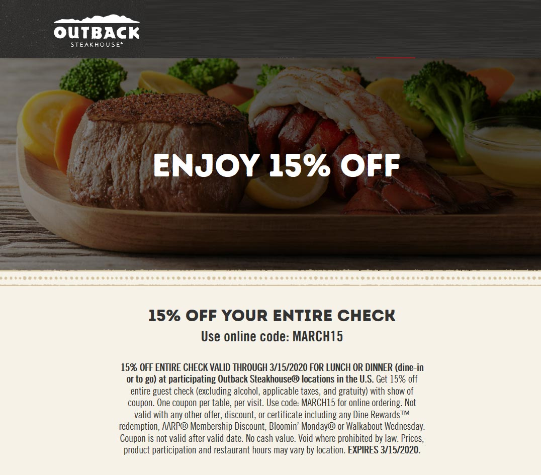 Outback Steakhouse coupons & promo code for [January 2021]