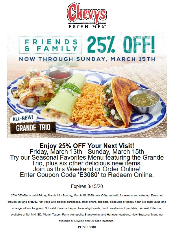 Chevys coupons & promo code for [May 2021]