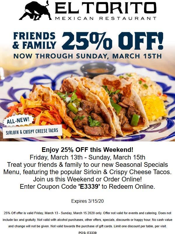 El Torito coupons & promo code for [April 2020]