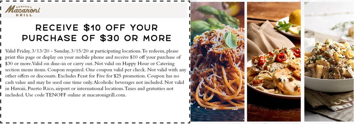 Macaroni Grill coupons & promo code for [February 2021]