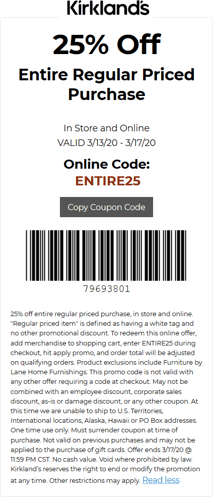 Kirklands coupons & promo code for [January 2021]