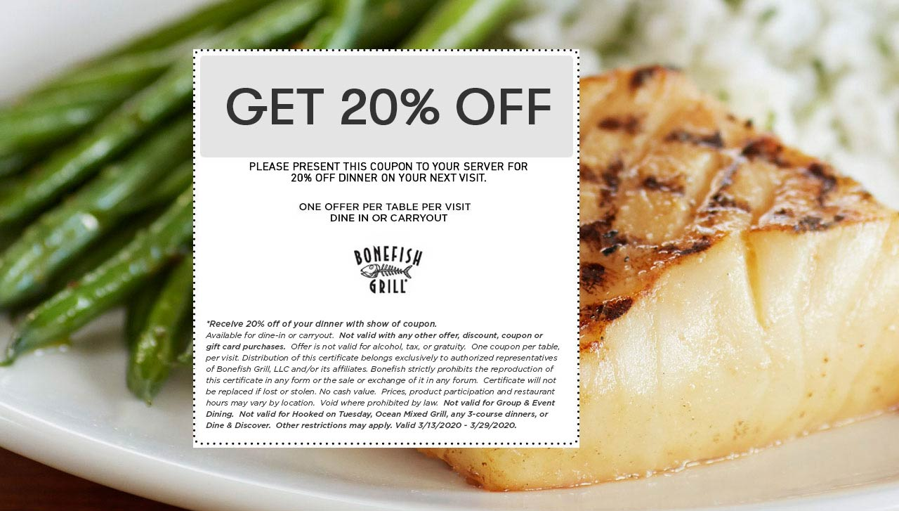 Bonefish Grill coupons & promo code for [April 2021]
