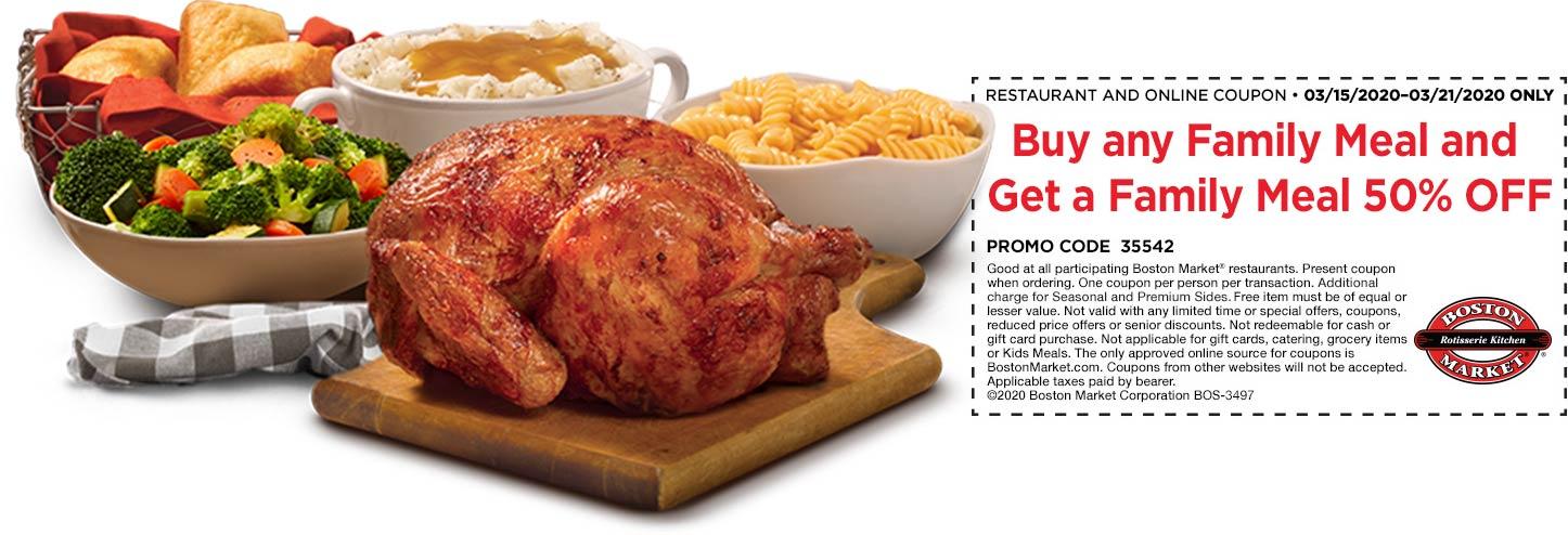 Boston Market coupons & promo code for [September 2020]