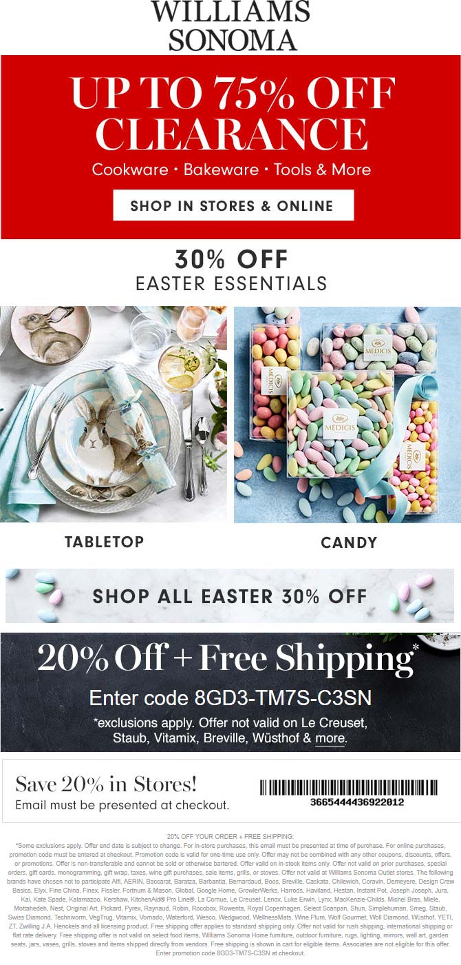 Williams Sonoma coupons & promo code for [April 2021]