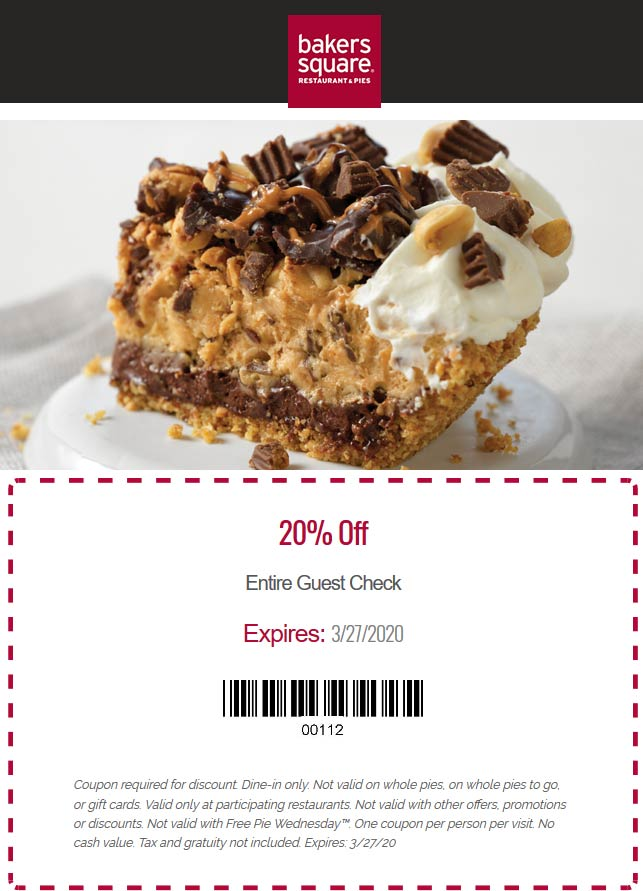 Bakers Square coupons & promo code for [December 2020]