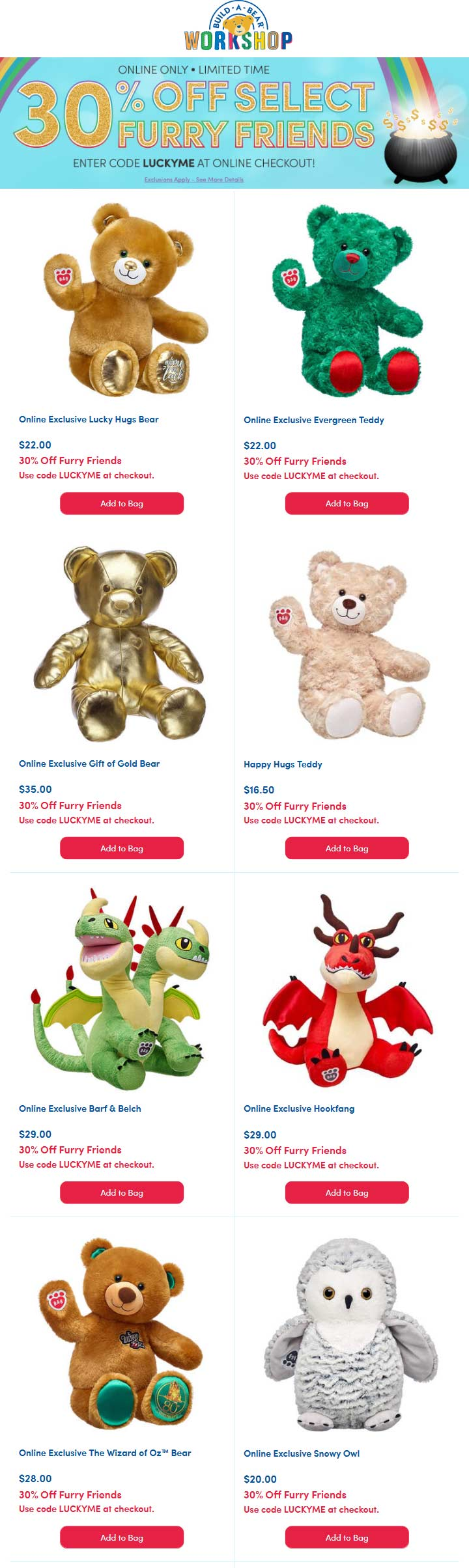Build-A-Bear coupons & promo code for [September 2020]