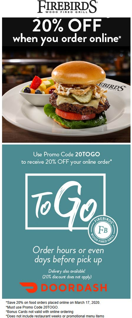 Firebirds coupons & promo code for [May 2021]