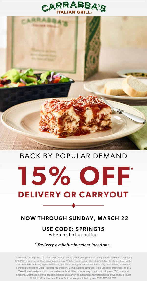 Carrabbas coupons & promo code for [December 2020]