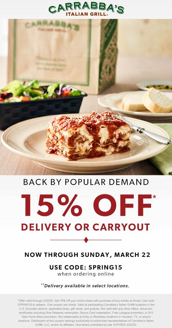 Carrabbas coupons & promo code for [September 2020]