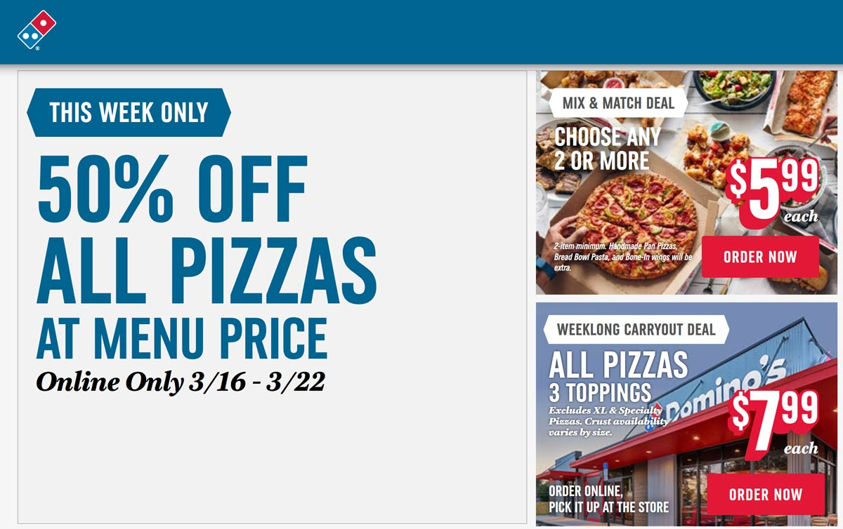 Dominos coupons & promo code for [January 2021]