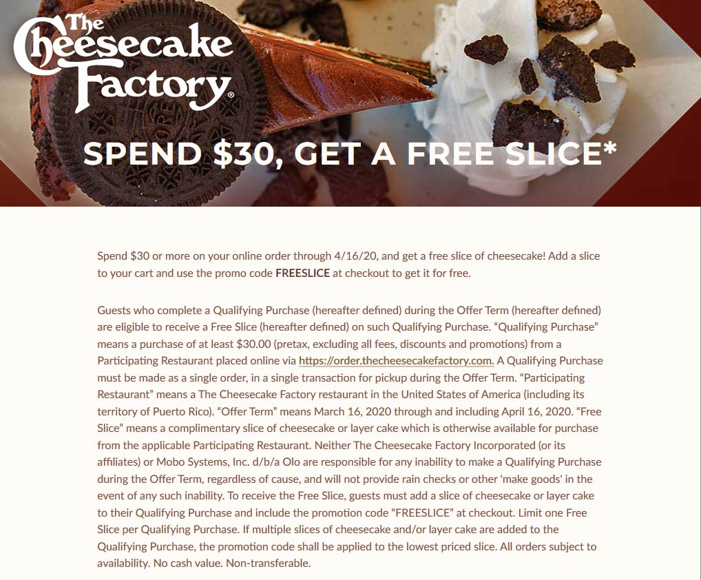 Cheesecake Factory coupons & promo code for [April 2021]
