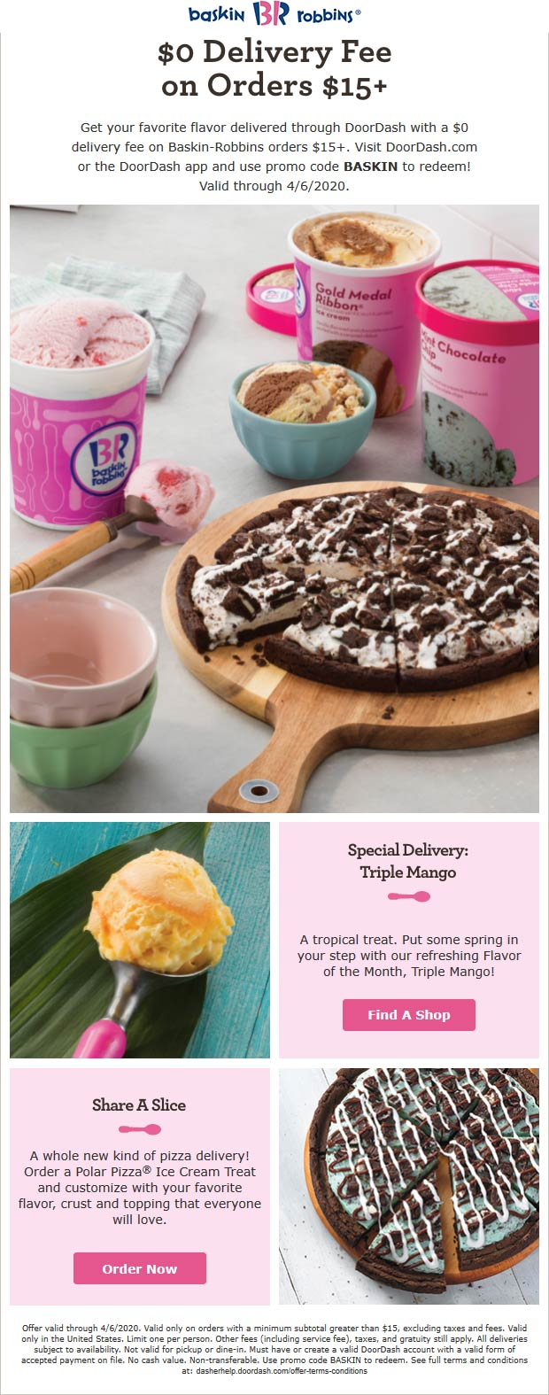 Baskin Robbins coupons & promo code for [July 2020]