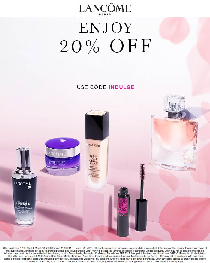 Lancome coupons & promo code for [October 2020]