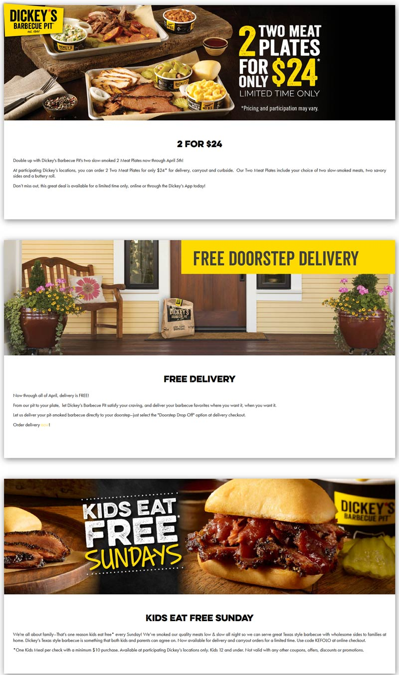 Dickeys Barbecue Pit coupons & promo code for [May 2021]