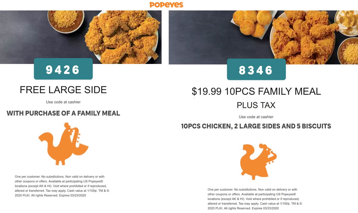 Popeyes coupons & promo code for [January 2021]