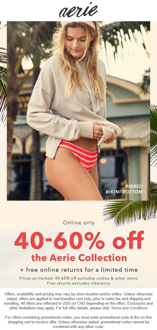 Aerie coupons & promo code for [October 2020]