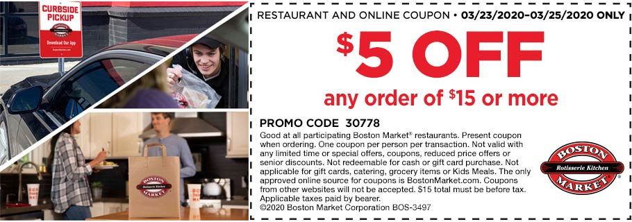 Boston Market coupons & promo code for [December 2020]