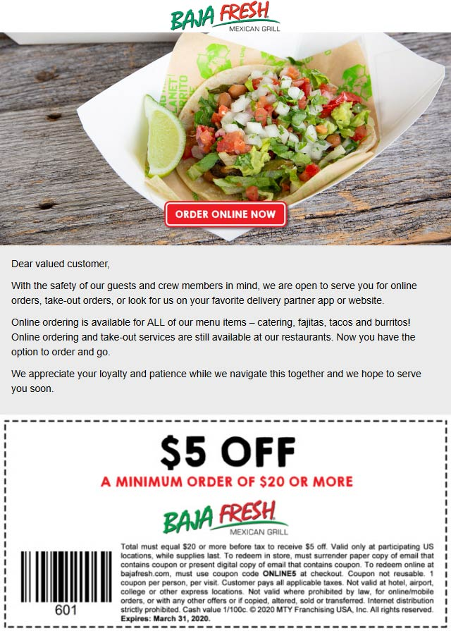 Baja Fresh coupons & promo code for [October 2020]