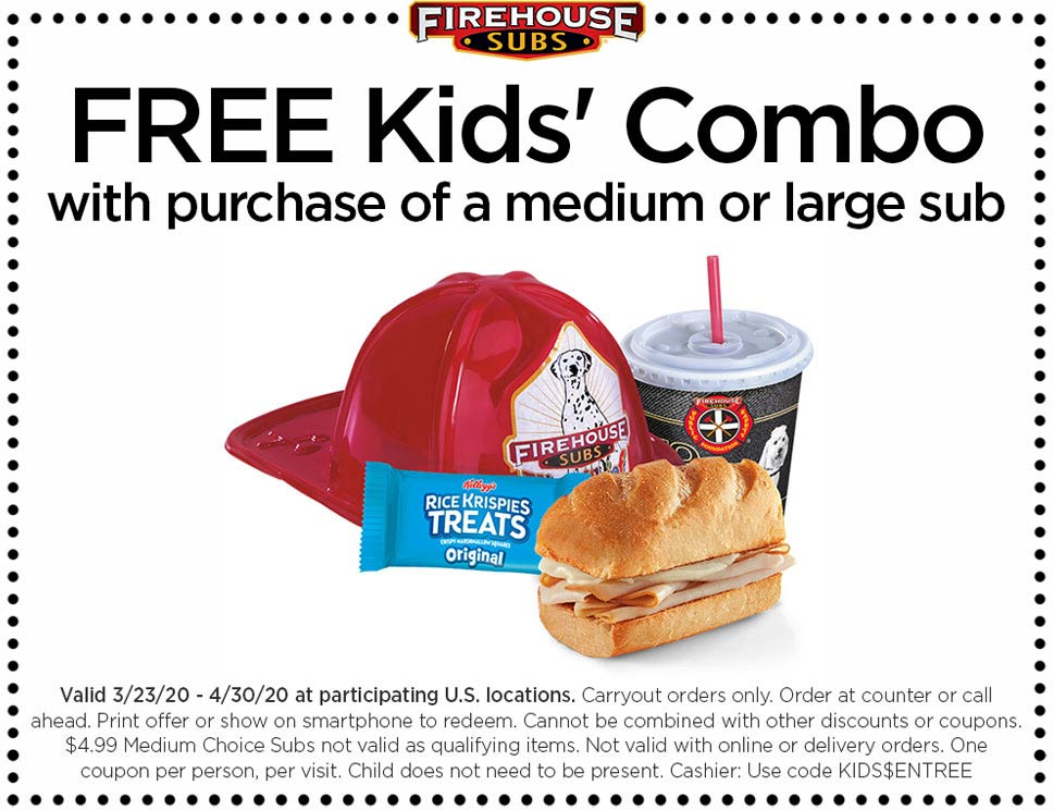 Firehouse Subs coupons & promo code for [July 2020]