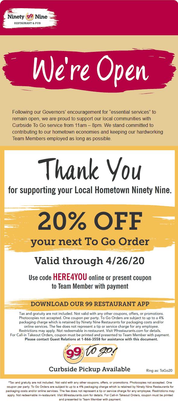 Ninety Nine coupons & promo code for [January 2021]