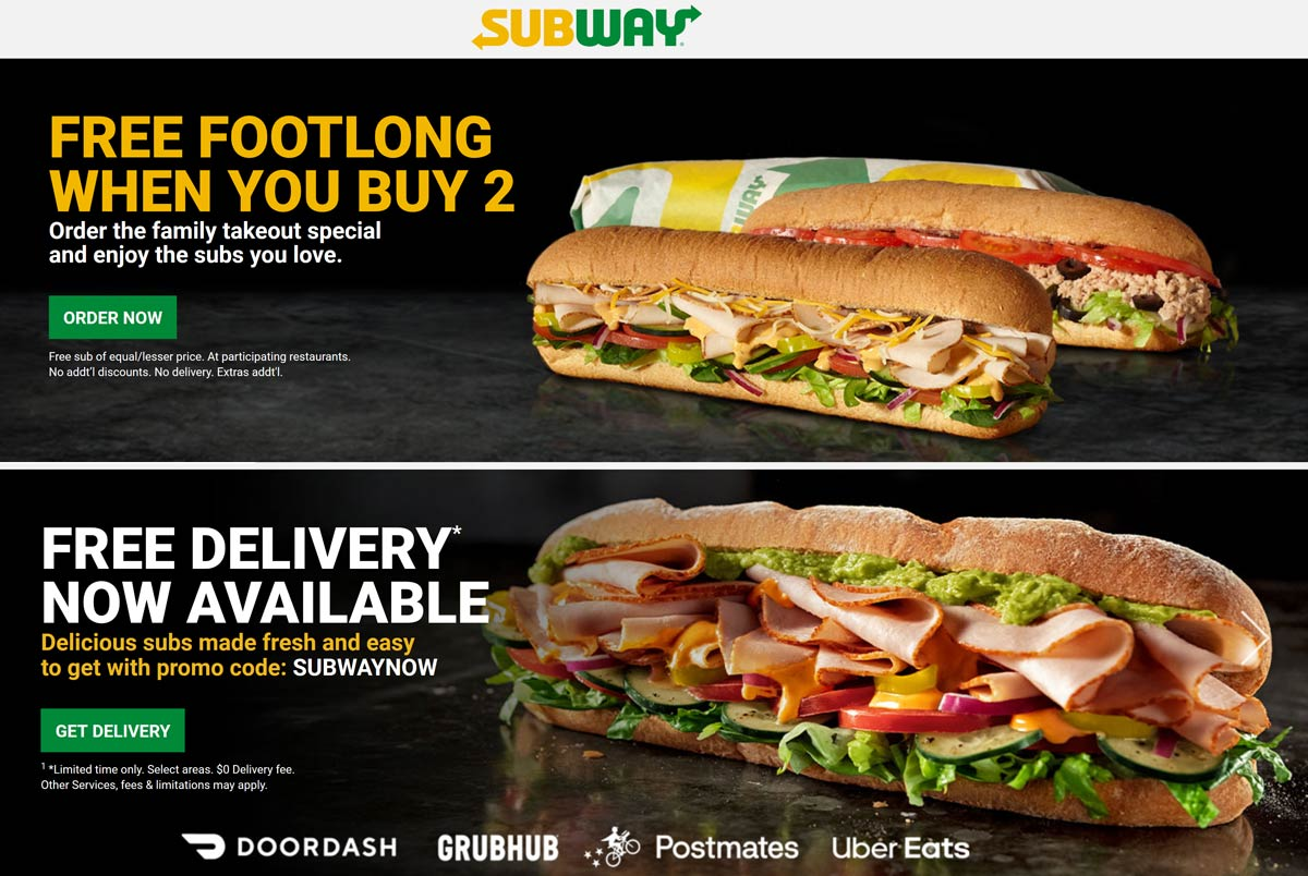 Subway coupons & promo code for [April 2021]