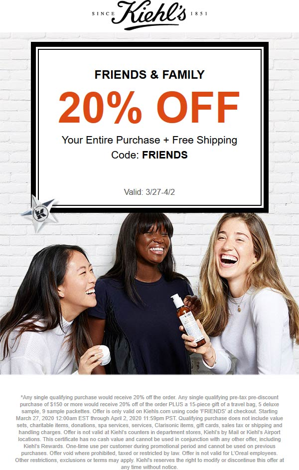 Kiehls coupons & promo code for [June 2020]