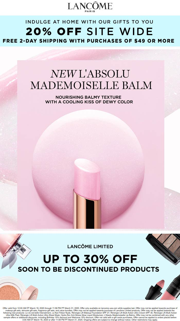 Lancome coupons & promo code for [April 2021]