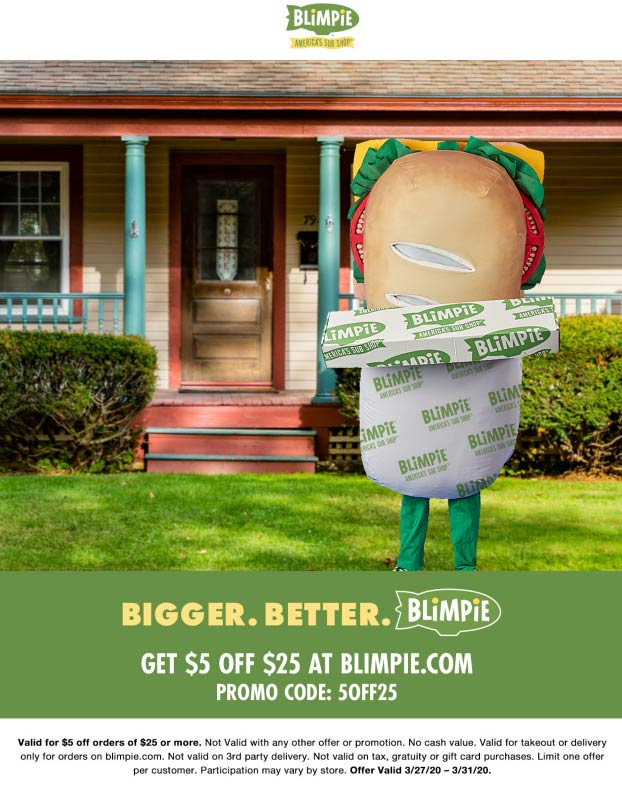 Blimpie coupons & promo code for [October 2020]
