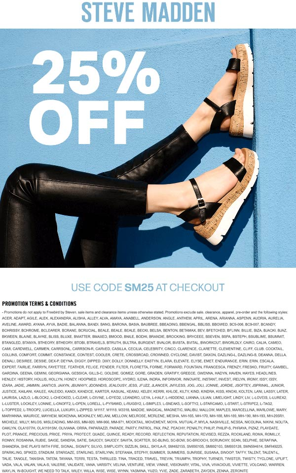 Steve Madden coupons & promo code for [June 2020]