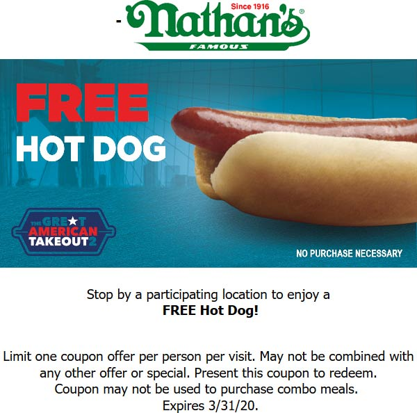 Nathans Famous coupons & promo code for [August 2020]