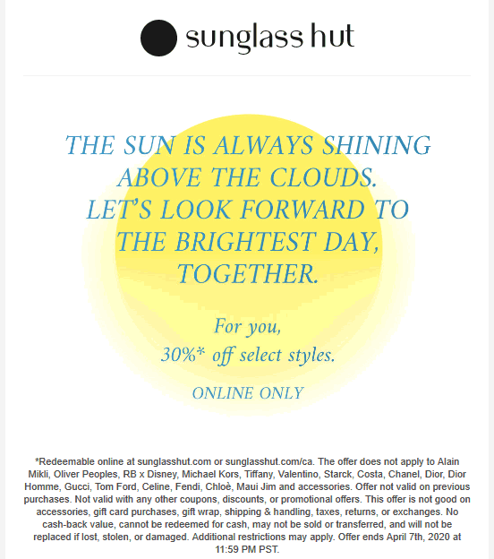 Sunglass Hut coupons & promo code for [August 2020]