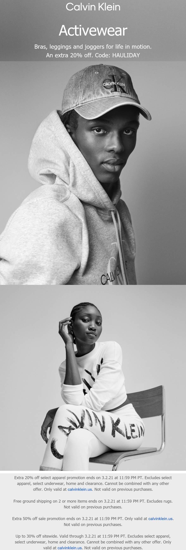 Calvin Klein stores Coupon  Extra 20-50% off online at Calvin Klein via promo code HAULIDAY #calvinklein