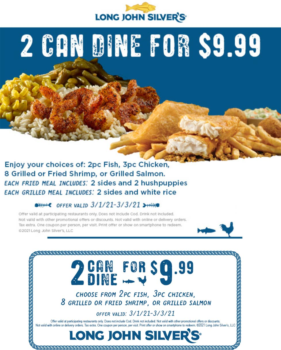 Long John Silvers restaurants Coupon  2pc fish, 3pc chicken, 8pc shrimp or grilled salmon + 2 sides + hushpuppies = $10 at Long John Silvers #longjohnsilvers