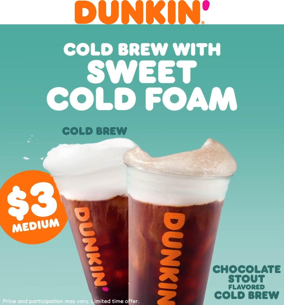 Dunkin Donuts restaurants Coupon  $3 medium cold brew at Dunkin Donuts #dunkindonuts
