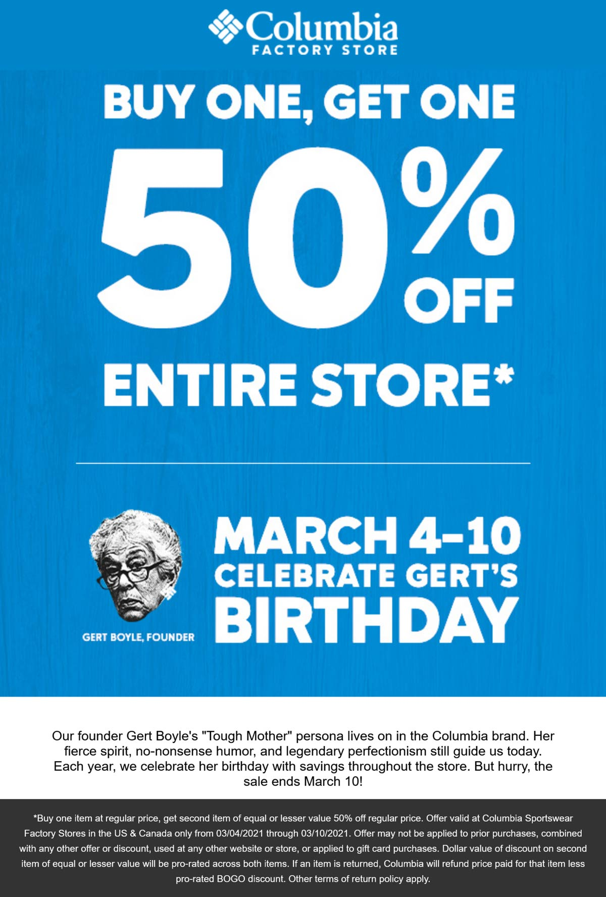 Columbia Factory Store stores Coupon  Second item 50% off at Columbia Factory Store #columbiafactorystore