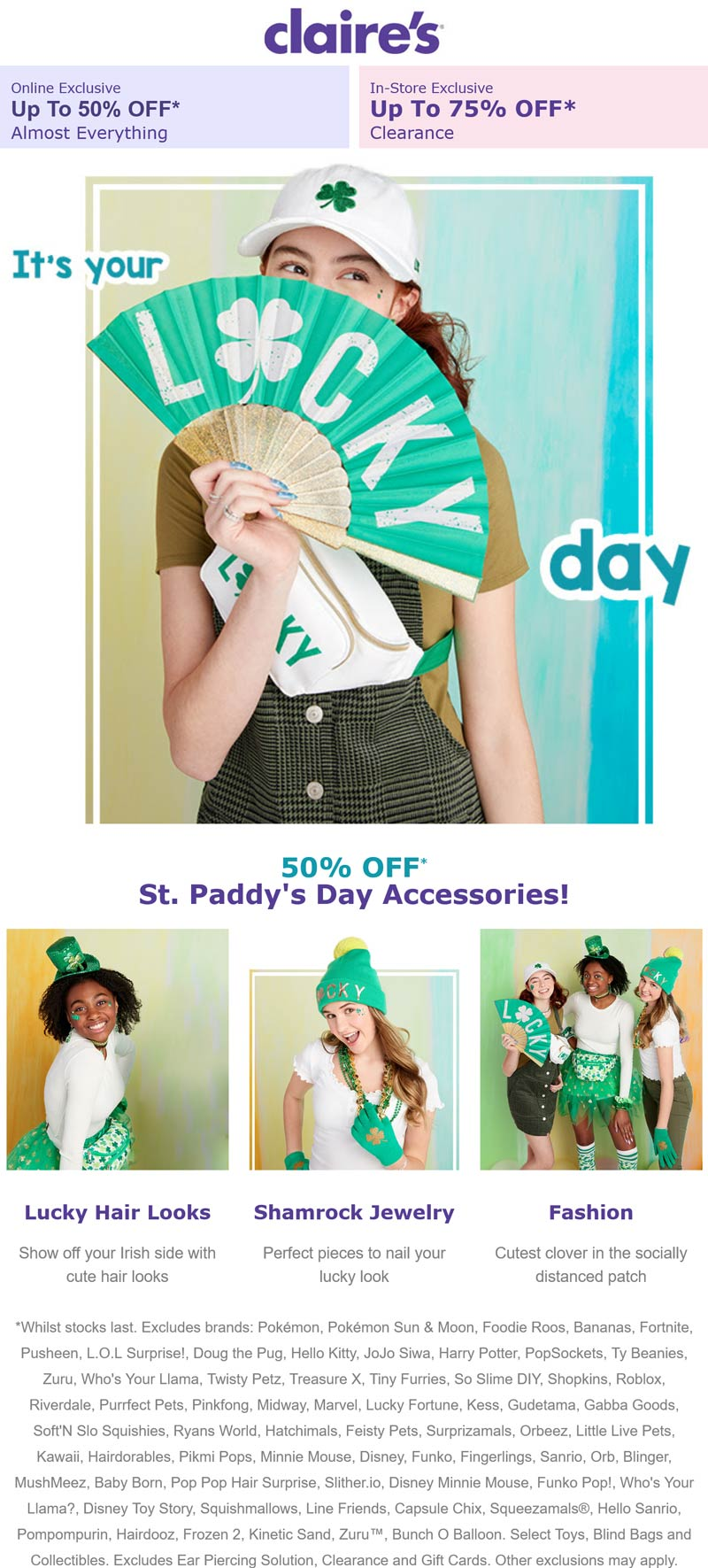 Claires stores Coupon  50% off St. Paddys day accessories & more at Claires #claires