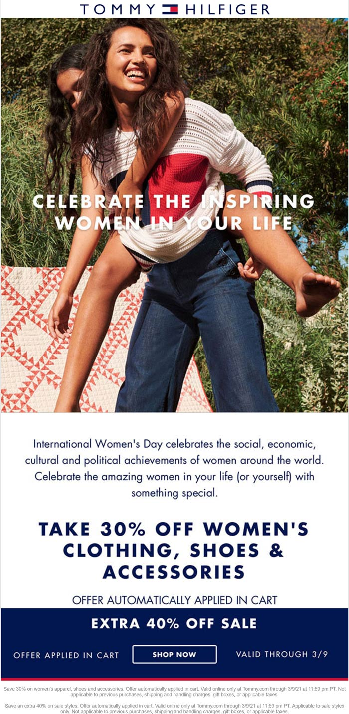 Tommy Hilfiger stores Coupon  30% off womens & 40% off sale items online at Tommy Hilfiger #tommyhilfiger