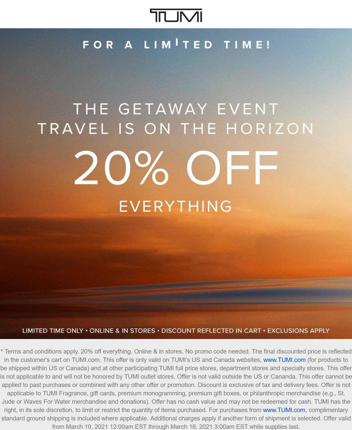 TUMI stores Coupon  20% off everything at TUMI, ditto online #tumi