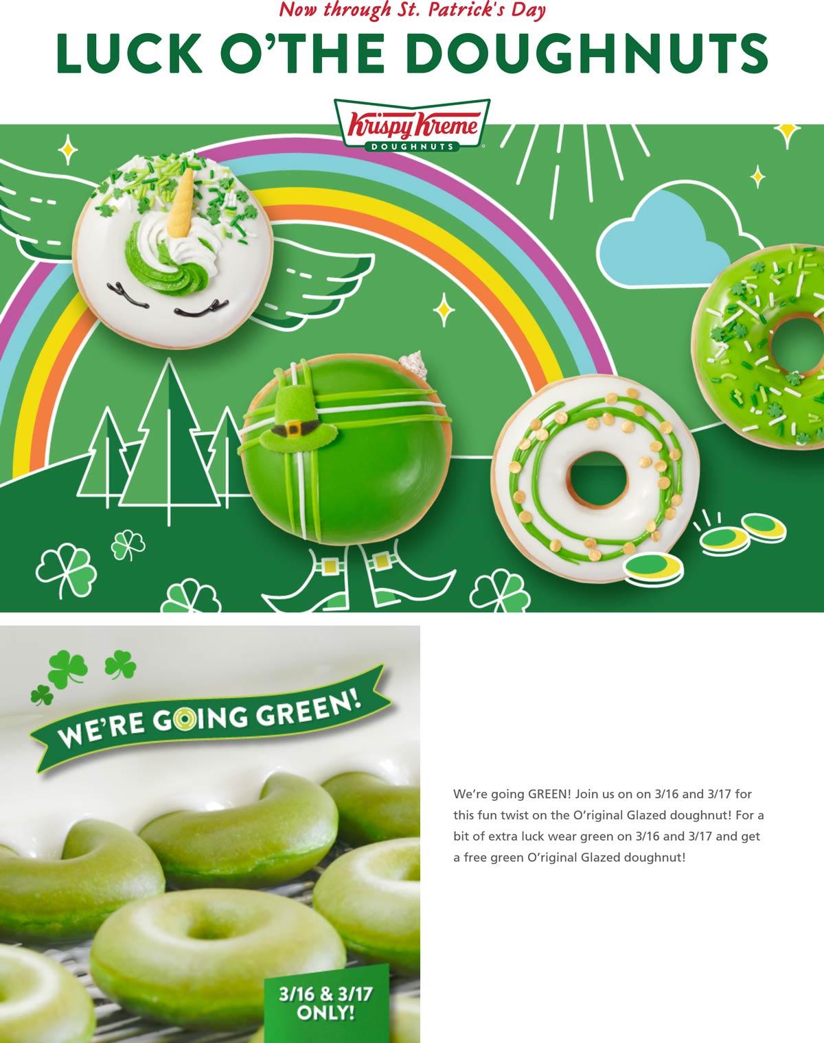 Krispy Kreme restaurants Coupon  Wear green for a free doughnut Tues & Weds at Krispy Kreme #krispykreme