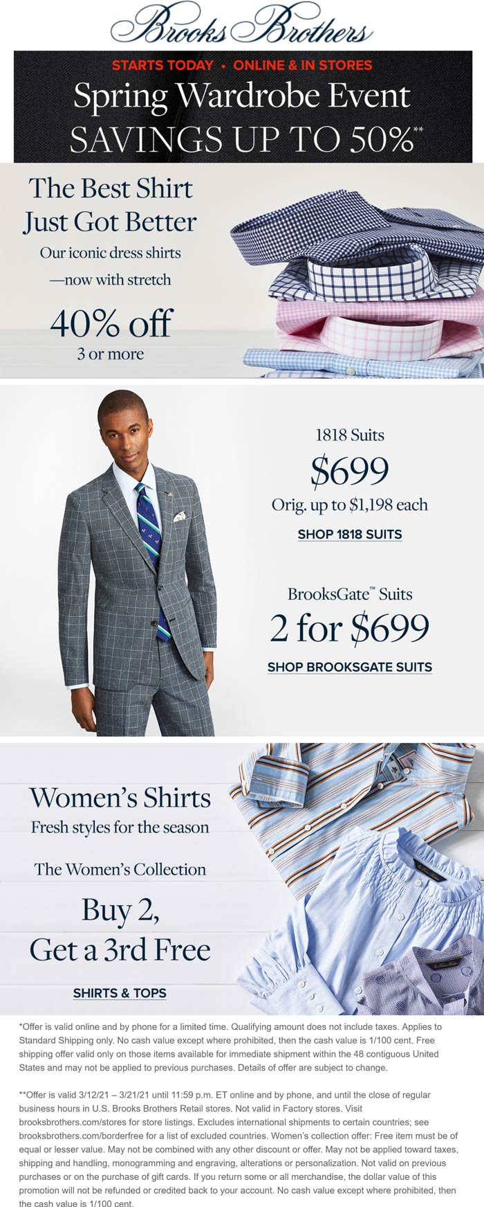 Brooks Brothers stores Coupon  40% off 3+ shirts & more at Brooks Brothers, ditto online #brooksbrothers