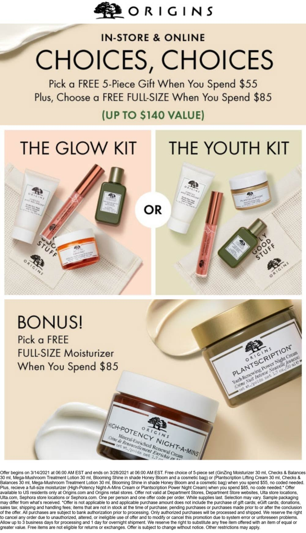 Origins stores Coupon  Free full-size moisturizer + 5pc gift on $85 spent at Origins, ditto online #origins