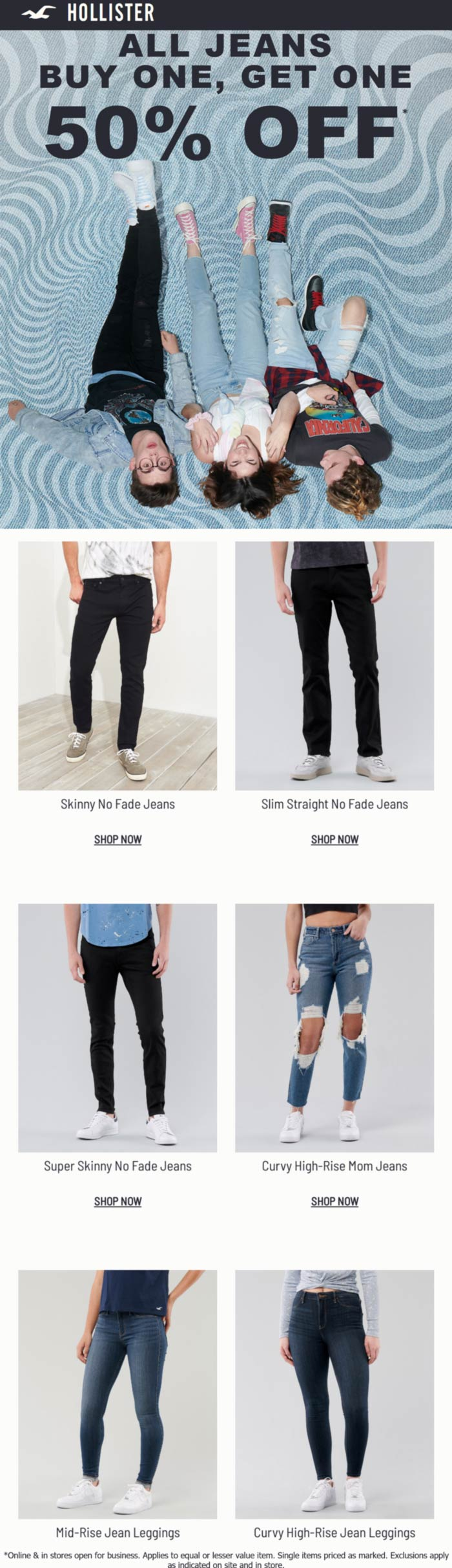 Hollister stores Coupon  Second pair jeans 50% off at Hollister, ditto online #hollister