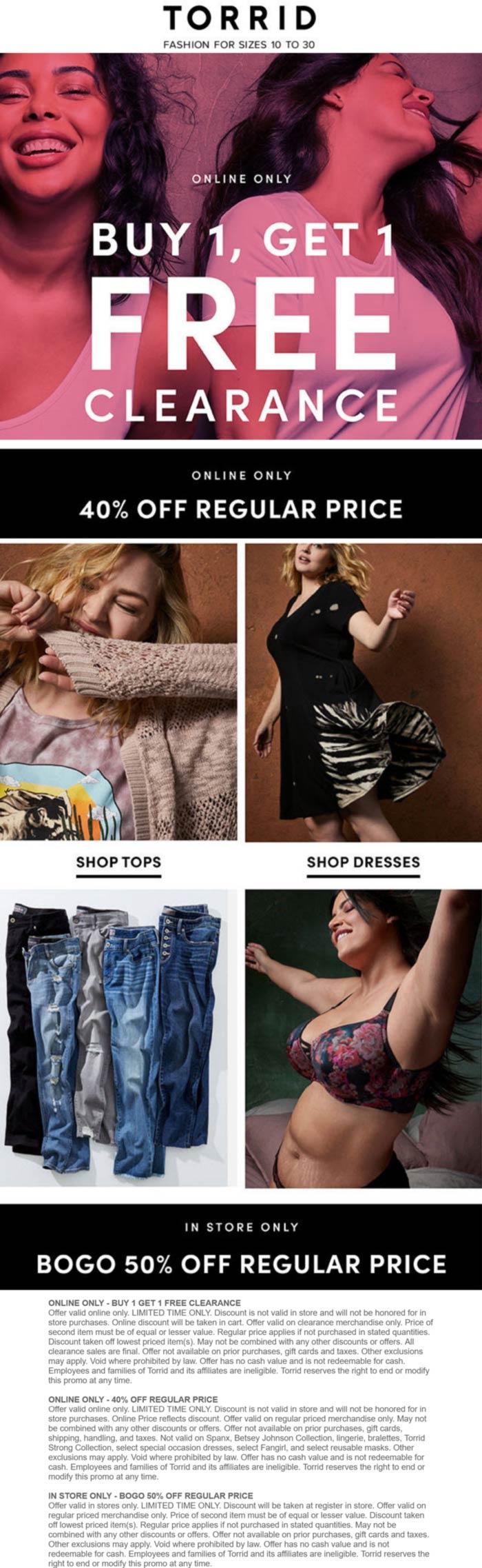 Torrid stores Coupon  Second item 50% off & more at Torrid, or BOGO clearance online #torrid