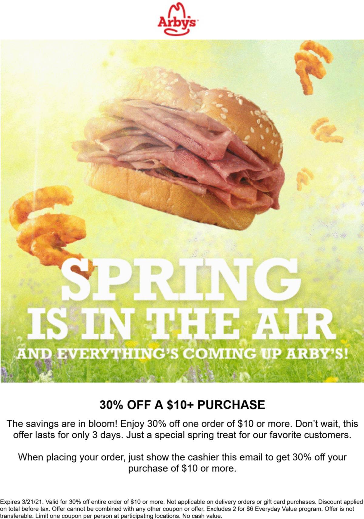 Arbys restaurants Coupon  30% off $10+ at Arbys restaurants #arbys