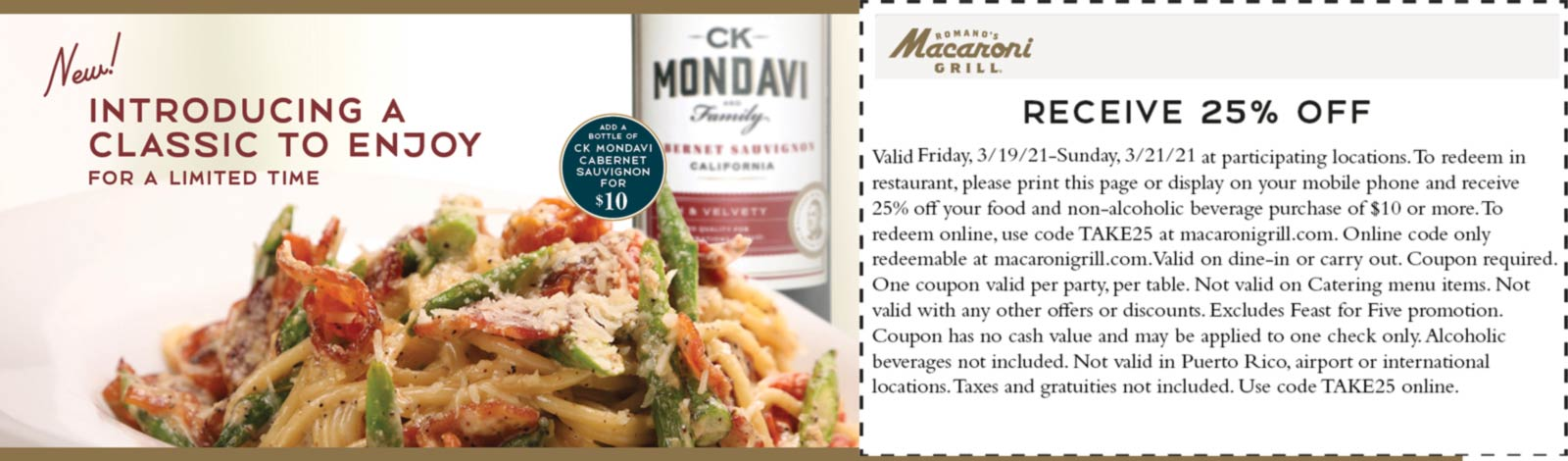 Macaroni Grill restaurants Coupon  25% off at Macaroni Grill restaurants #macaronigrill