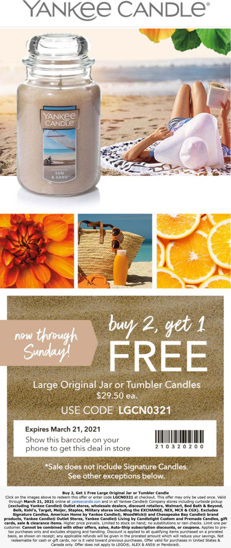 Yankee Candle stores Coupon  3rd large candle free at Yankee Candle, or online via promo code LGCN0321 #yankeecandle