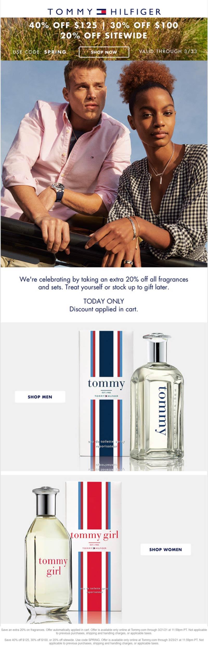 Tommy Hilfiger stores Coupon  20-40% off at Tommy Hilfiger via promo code SPRING #tommyhilfiger
