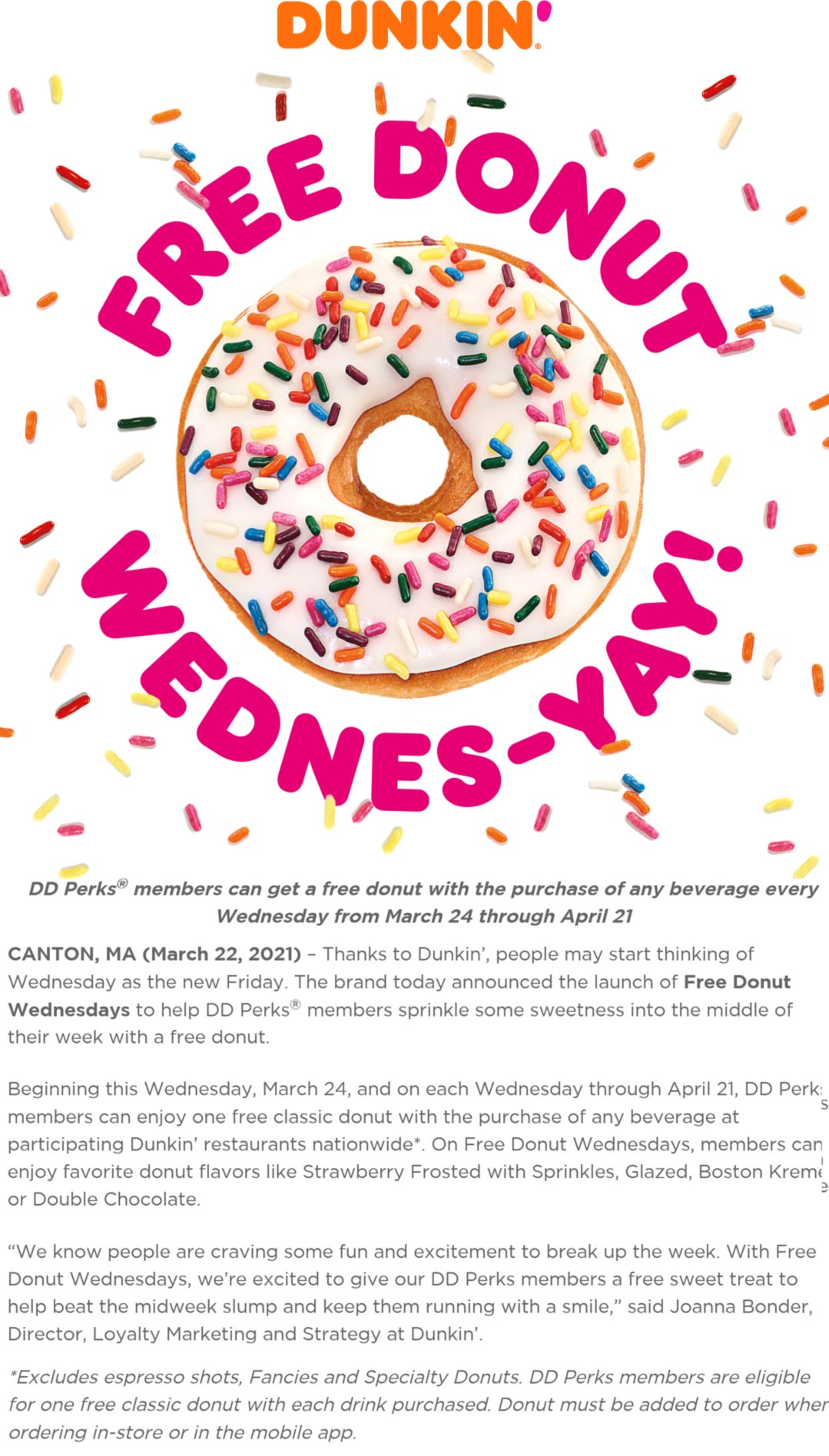 Dunkin Donuts restaurants Coupon  Free doughnut with your beverage Wednesdays for rewards members at Dunkin Donuts #dunkindonuts