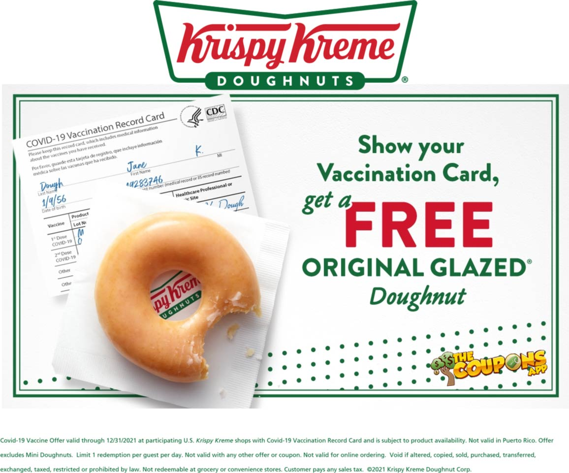 Krispy Kreme restaurants Coupon  Free glazed doughnut daily all year with vaccination card at Krispy Kreme doughnuts #krispykreme